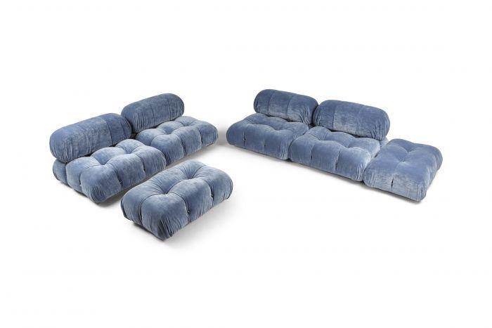 Mario Bellini Sky Blue Velvet Camaleonda Modular Couch - 1970s