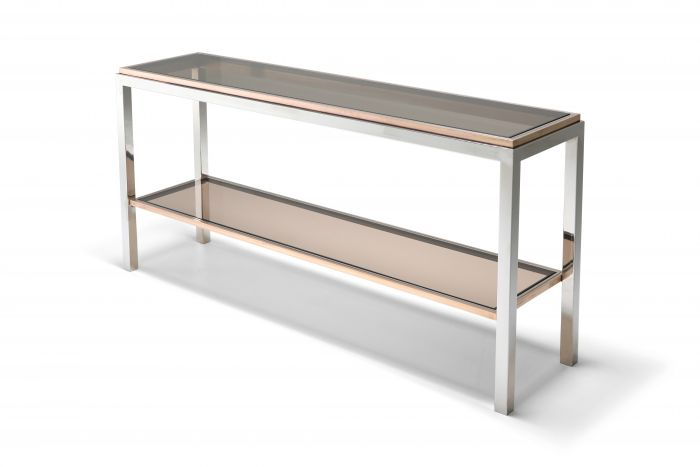 Willy Rizzo Two-Tier Console Table in Chrome and Brass Linea Flaminia - 1970's