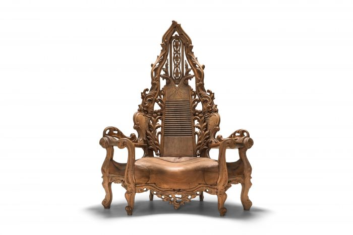 French carved Oak Throne Chair - 1950s
