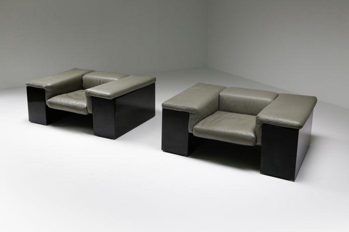 Post-modern Cini Boeri 'Brigadier' Lounge Chairs in Elephant Grey Leather - 1980s