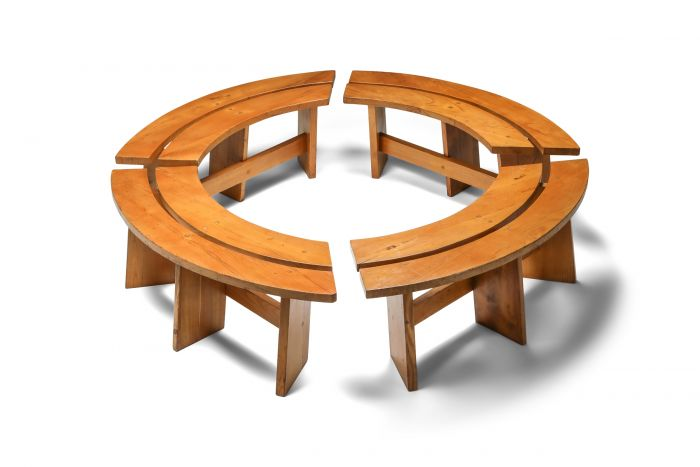 Pierre Chapo Curved Benches in French Elm - 1960s