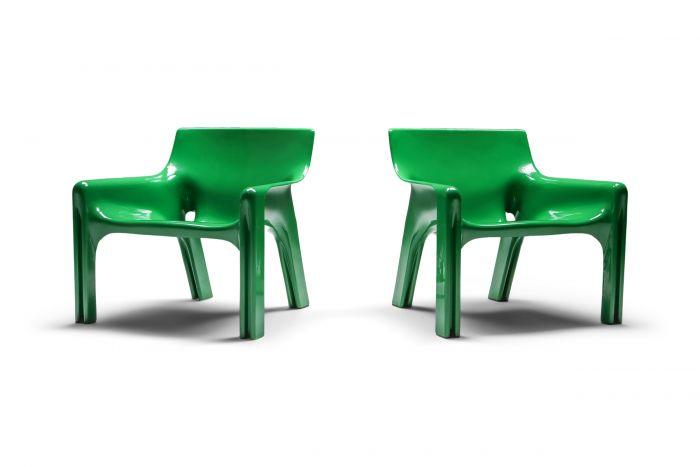 Green Magistretti 'Vicario' Armchairs - 1970s