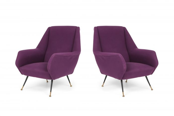 Ico Parisi Easy Chairs with Purple Upholstery - 1950s