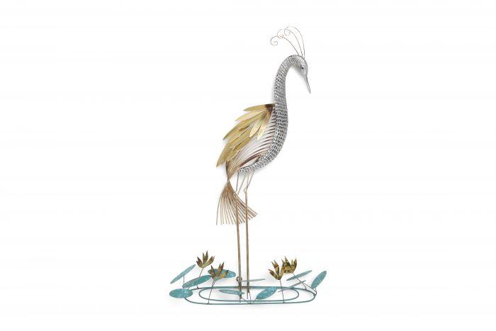 Curtis Jere Brass Wall Mounted 'Heron' Sculpture - 1988
