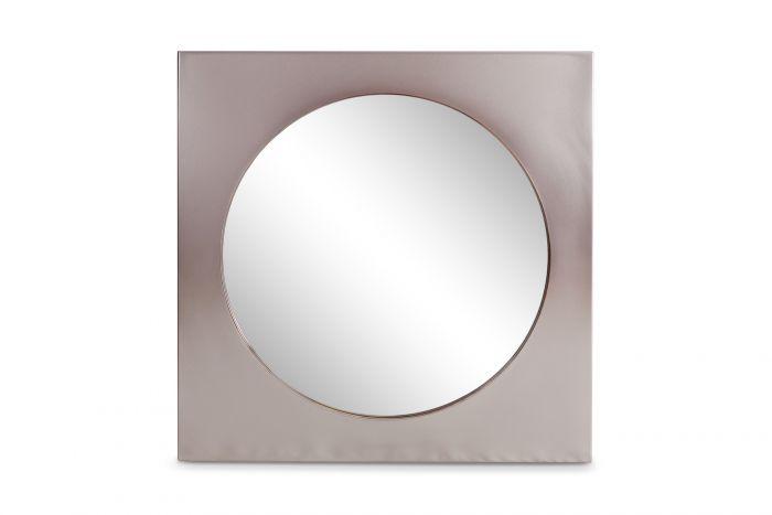 Belgo Chrom Mirror In Brushed Steel - 1980s