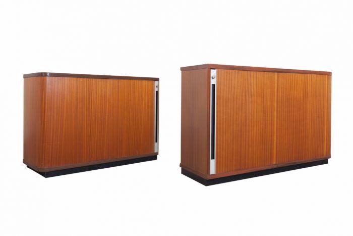 Teak Office Cabinets With Tambour Doors - 1980s