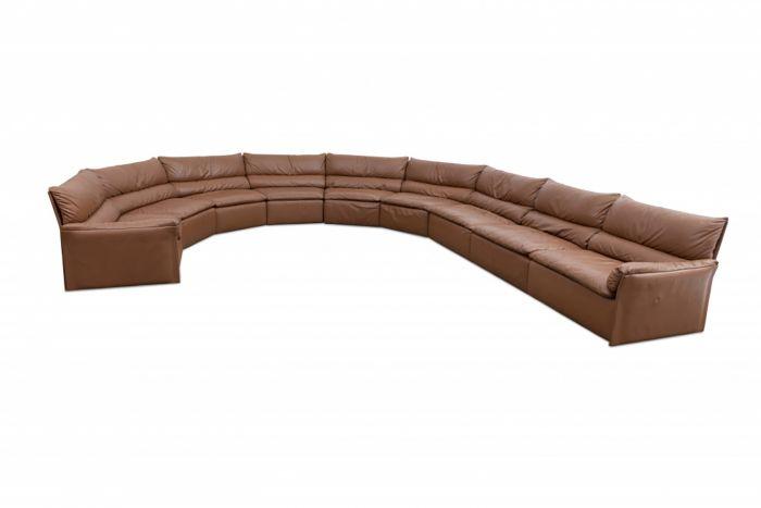 Large Italian Brown Leather Sofa, Saporiti - 1960s