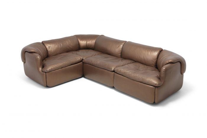 Bronze Golden Leather Saporiti Sectional Sofa 'Confidential' - 1972