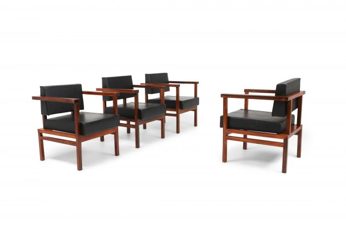 Wim Den Boon Executive Chairs in Black Leather and Rosewood - 1950s
