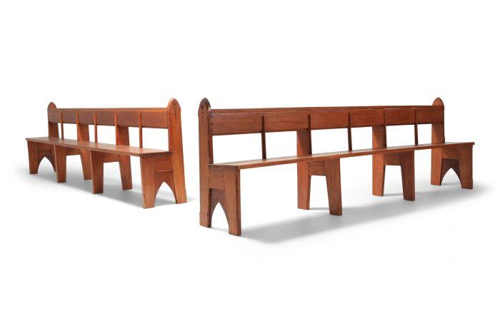 Mid-century Modern Solid Oak Bench In Wabi Sabi Style - 1940s