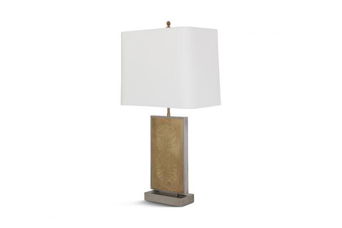 Roger Vanhevel Brass Etched Impressive Table Lamp - 1970s
