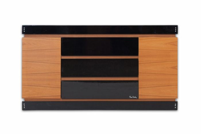 Black Lacquer And Teak Drawer Cabinet, Pierre Cardin - 1970s