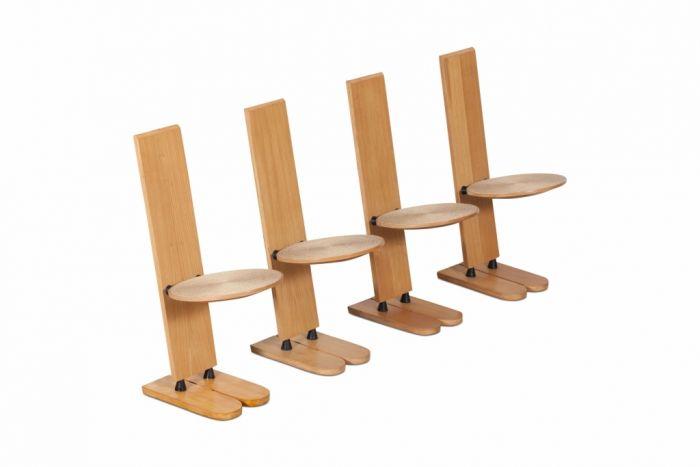 Rare Wooden Dining Chairs, Gigi Sabadin - 1970s