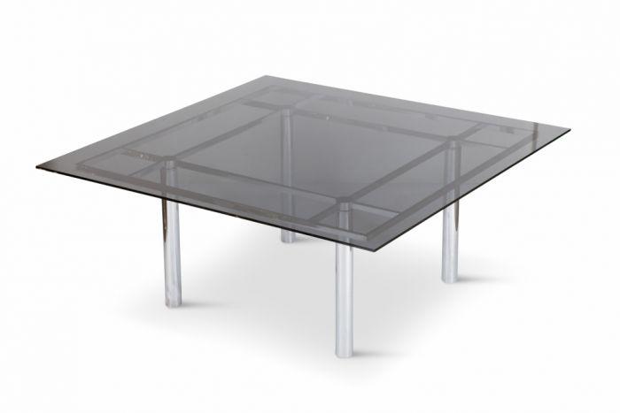 Large Square Chrome Dining Table, Tobia Scarpa - 1970s