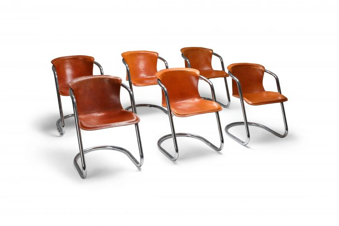 Willy Rizzo tan leather chairs for Cidue - 1970s