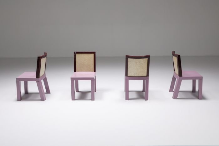 Postmodern Ettore Sottsass Pink Dining Chairs for Leitner - 1980's