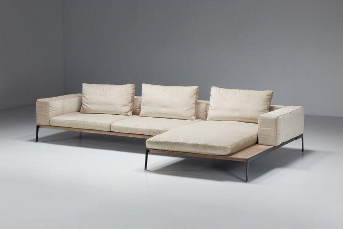 Lifesteel White Three Seater Sofa designed by Antonio Citterio for Flexform - 2018