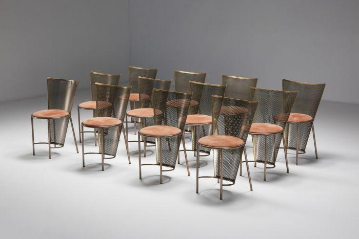 Set of Post-modern Frans Van Praet Expo '92 Brass Chairs - 1992
