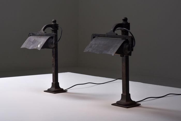 Castiron pre-war industrial desk lamps - 1900s