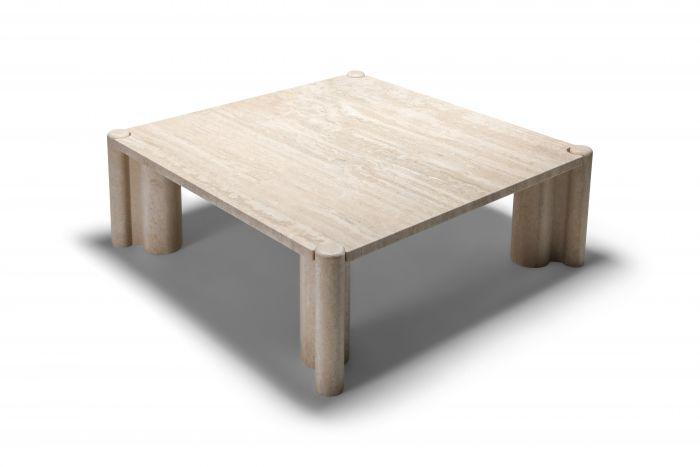 Gae Aulenti Jumbo Travertine Square Coffee Table - 1960's