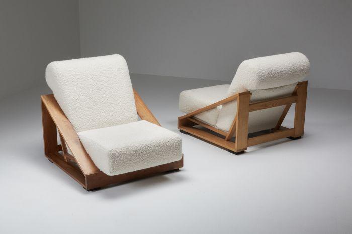 Italian Geometric Boucle Lounge Chairs - 1950's