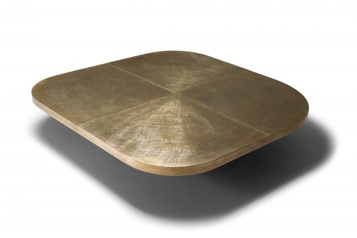 George Matthias XL brass etched table - 1970's