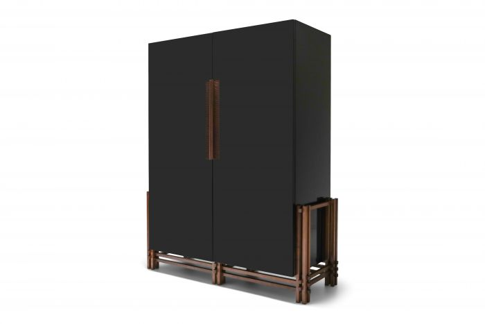 Black Lacquer Cabinet on Walnut Frame - 2000's