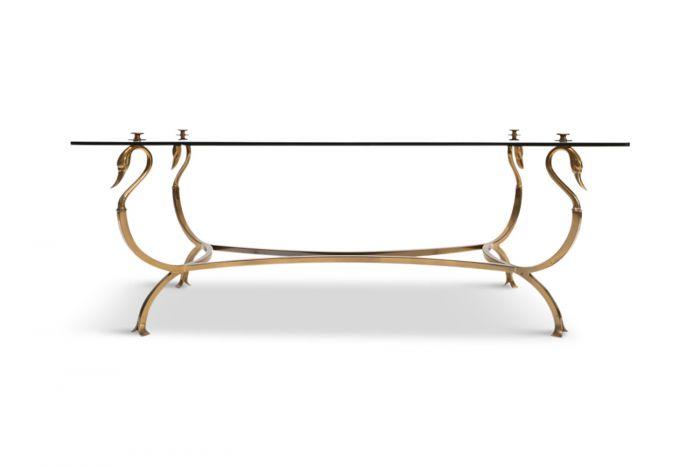 Brass Swan Coffee Table, Maison Jansen - 1970s