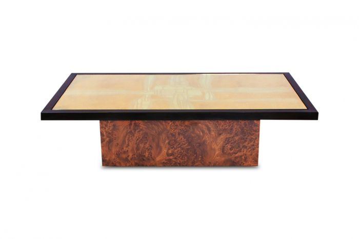 Maho Brass Etched Coffee Table - 1970s