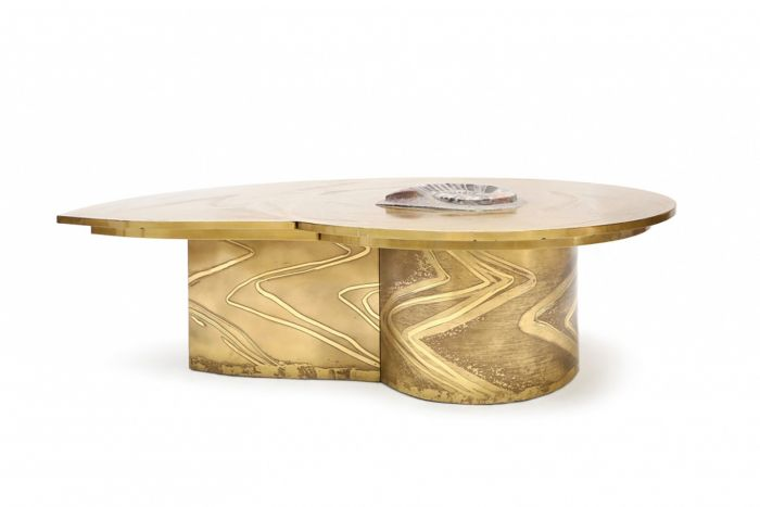 Brass Coffee Table With Inlaid Polished Ammonite, Marc D'haenens - 1970s
