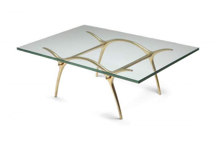 Bronze Hollywood Regency Coffee Table by Kouloufi - 1970's