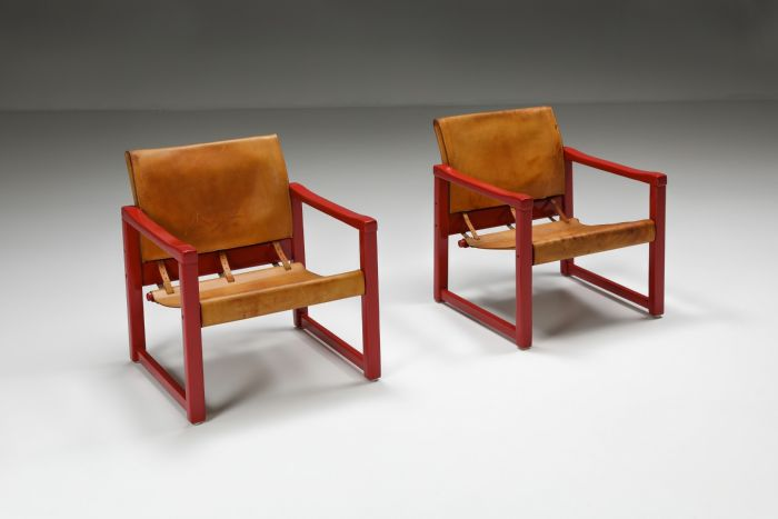 Set of Cognac Leather Karin Mobring Safari Chair Model Diana by Ikea in Sweden - 1970's
