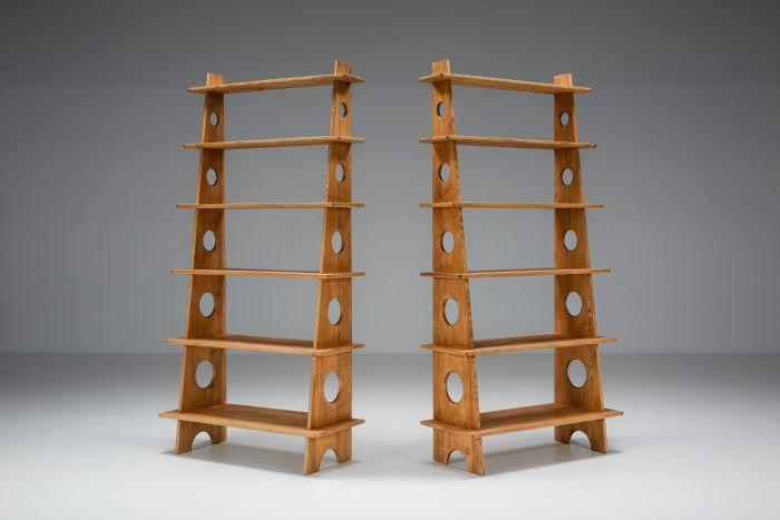 Italian Design Bookshelves In Solid Elm - 1970's