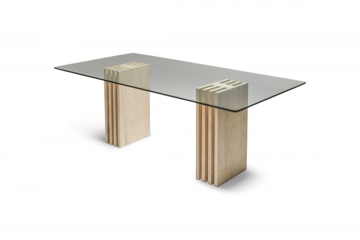 Travertine Postmodern Dining Table in the Style of Scarpa - 1980s