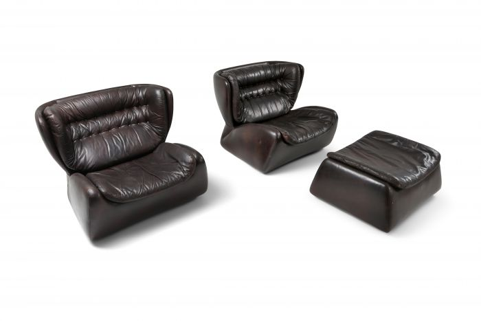Dark brown 'Pasha' lounge chairs by Durlet - 1970's