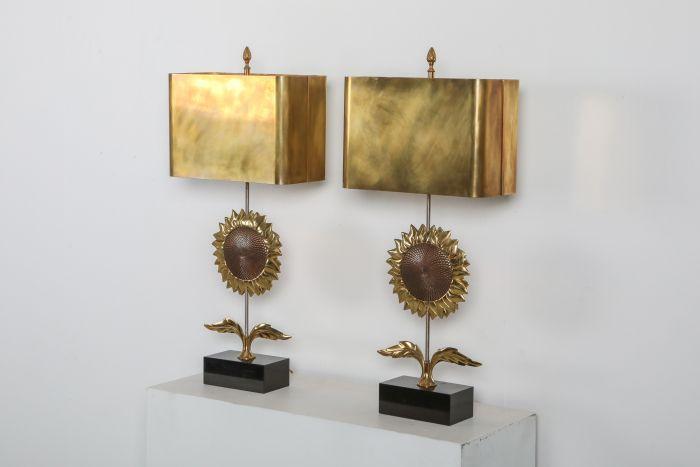 Maison Jansen Sunflower Pair of Lamps - 1970's