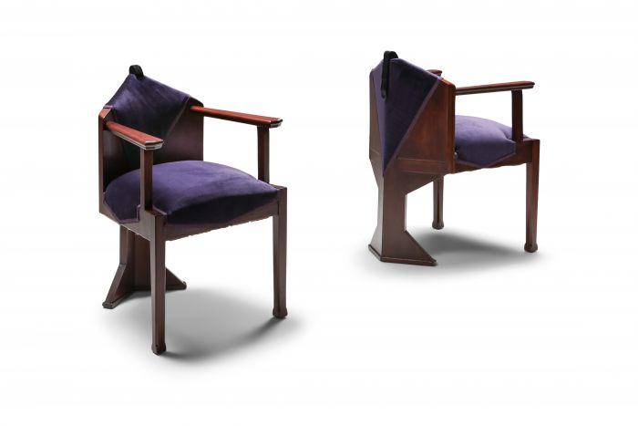 Dutch Art Deco 'Amsterdamse school' pair of armchairs - 1950s