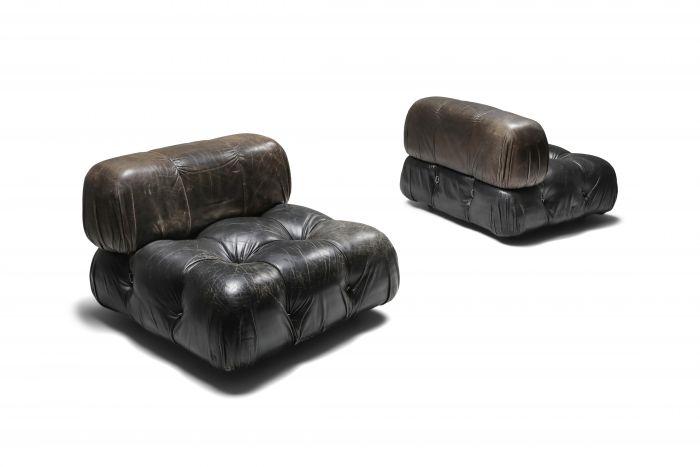 Mario Bellini's 'camaleonda' lounge chairs in original black leather - 1970's