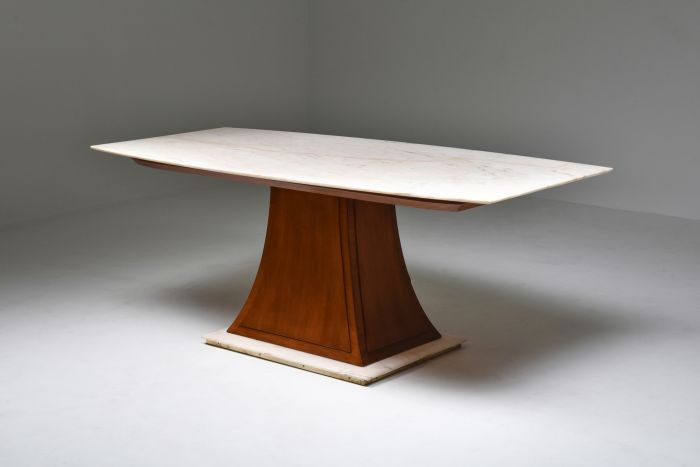 Italian Art Deco Dining Table with Marble Top Japan Inspired - 1940's