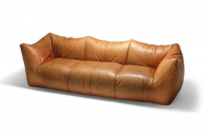 Mario Bellini 'Le Bambole' Three-Seat Couch in Tan Leather - 1970s