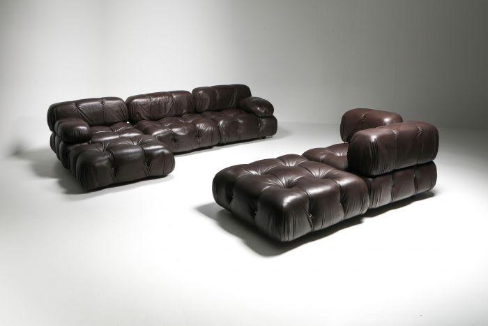 Mario Bellini's Camaleonda Original Sectional Sofa in Chocolate Brown Leather - 1970's