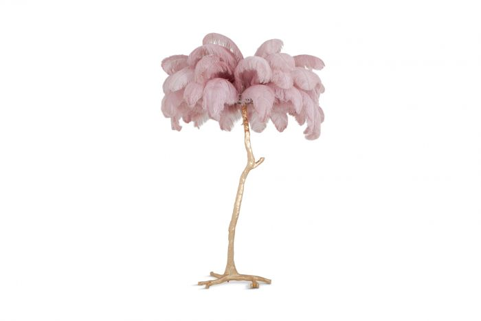 Hollywood Regency Feather Palm Tree Floor Lamp in Gold and Pink - 2018
