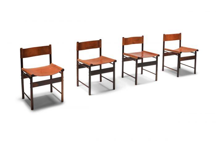 Zalszupin Jacaranda Dining Chairs with Cognac Saddle Leather Seating - 1950s
