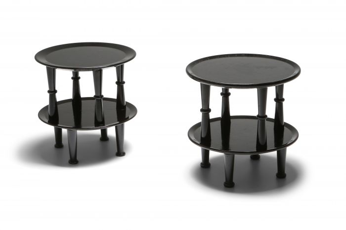 Black Lacquer post-modern Side Tables - 1970s