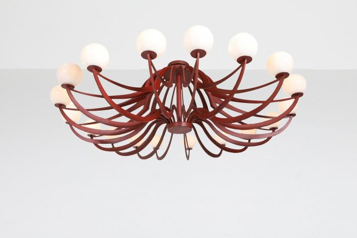 Red Lacquered Postmodern Chandelier Lapo Binazzi 'Attributed' - 1960's