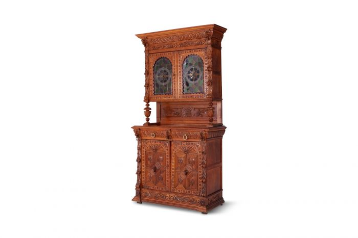 Hand-Carved French Henri II Style Oak Cabinet - 19th Century