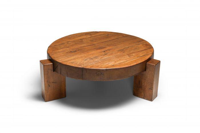 Pierre Chapo Style Coffee Table in Solid Oak - 1960s