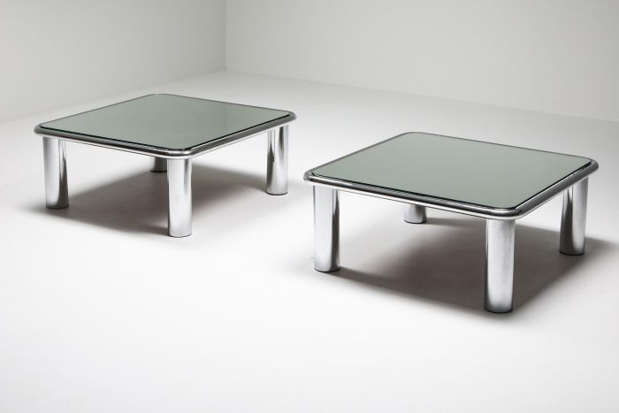 Gianfranco Frattini, Pair of Mirrored Coffee Tables for Cassina - 1960's