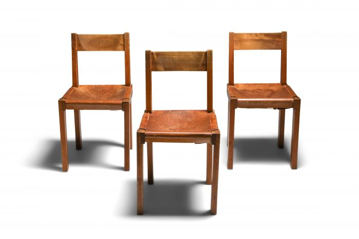 Pierre Chapo 'S24' Chairs in Elm and Cognac Leather - 1970's