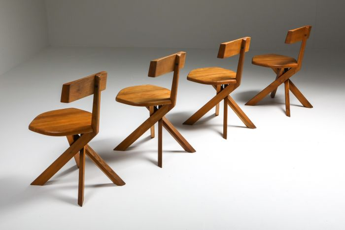 Chapo 'S34' Dining Chairs in Solid Elm - 1960's